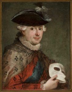 (prawdopodobnie) Jan Chrzciciel Lampi Starszy Portret Stanisława Augusta z maską. (źródło: Muzeum Narodowe w Warszawie)
