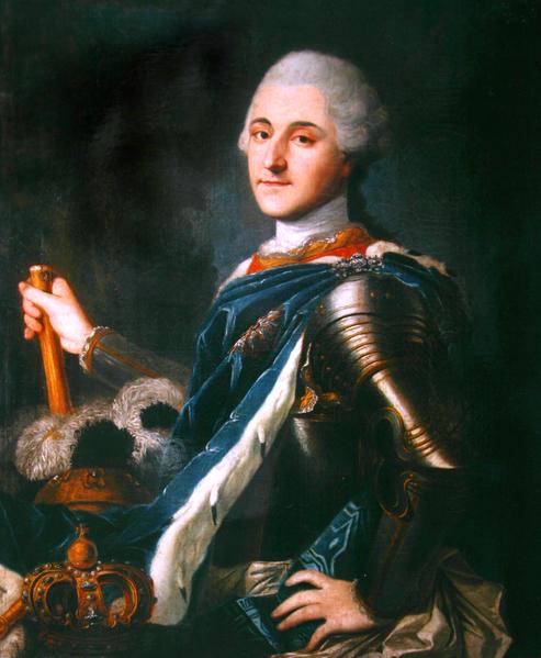 Portret Stanisława Augusta w zbroi i błękitnym płaszczu. (źródło: Wikipedia)