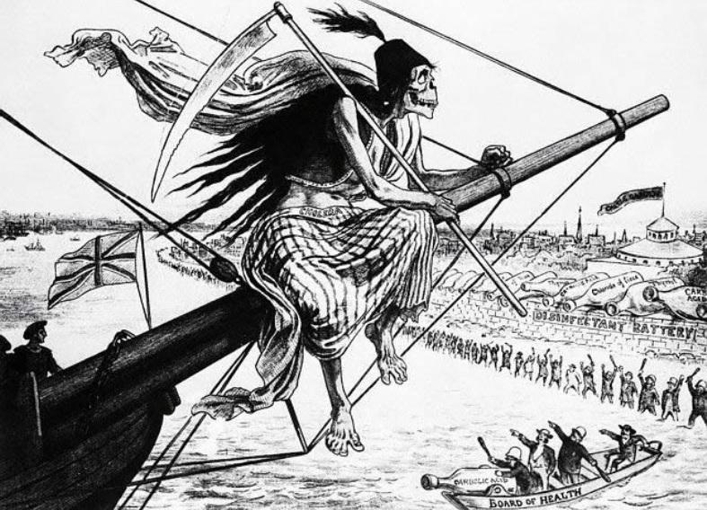 Cholera wpływa do portu. Londyńska rycina z drugiej połowy XIX wieku. źródło: domena publiczna