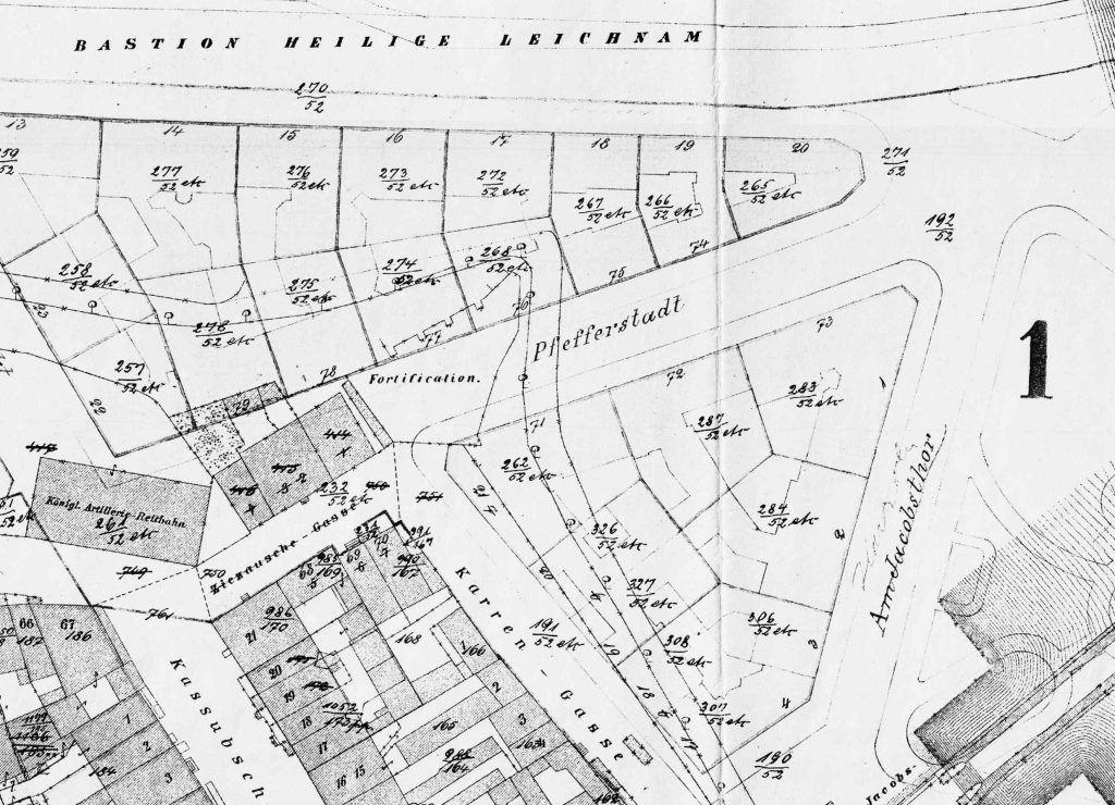 układ ulic na planie w 1866, a więc przed wyburzeniem wałów