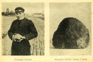 Znalazca (prawdopodobnie) i bryła meteorytu Łowicz w przewodniku mineralogicznym dla młodzieży z 1944 roku