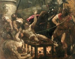 Śmierć św. Wawrzyńca na obrazie Tycjana (fragment)