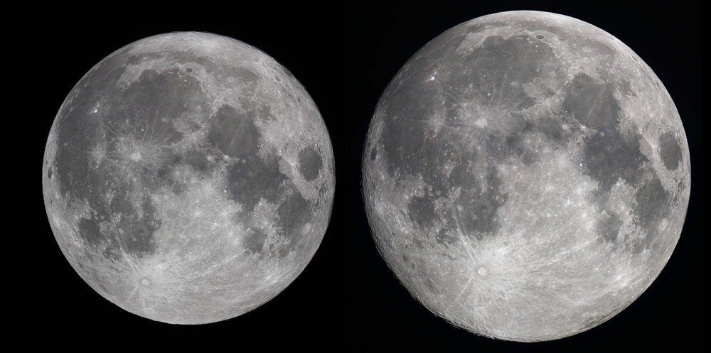 Porównanie widomych rozmiarów tarczy Księżyca w apogeum (z lewej) i perygeum (z prawej), fot. Robert Vanderbei