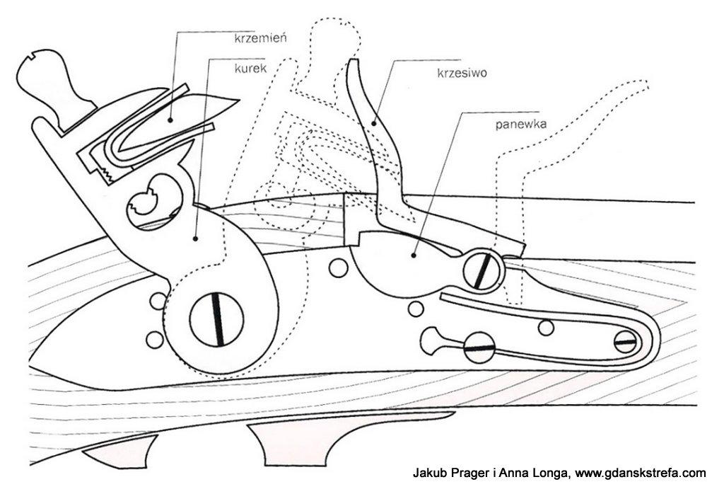 Schemat zamka skałkowego karabinu wg. Olega Sokołowa (Armia Napoleona. Oświęcim 2014 s. 122)