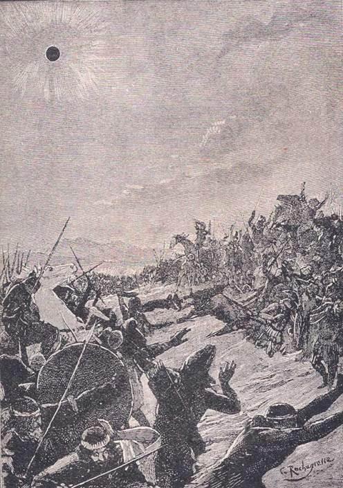 Artystyczna wizja zaćmienia nad rzeką Halys, które pogodziło Medów i Lidyjczyków, aut. Georges Rochegrosse (1859-1938)
