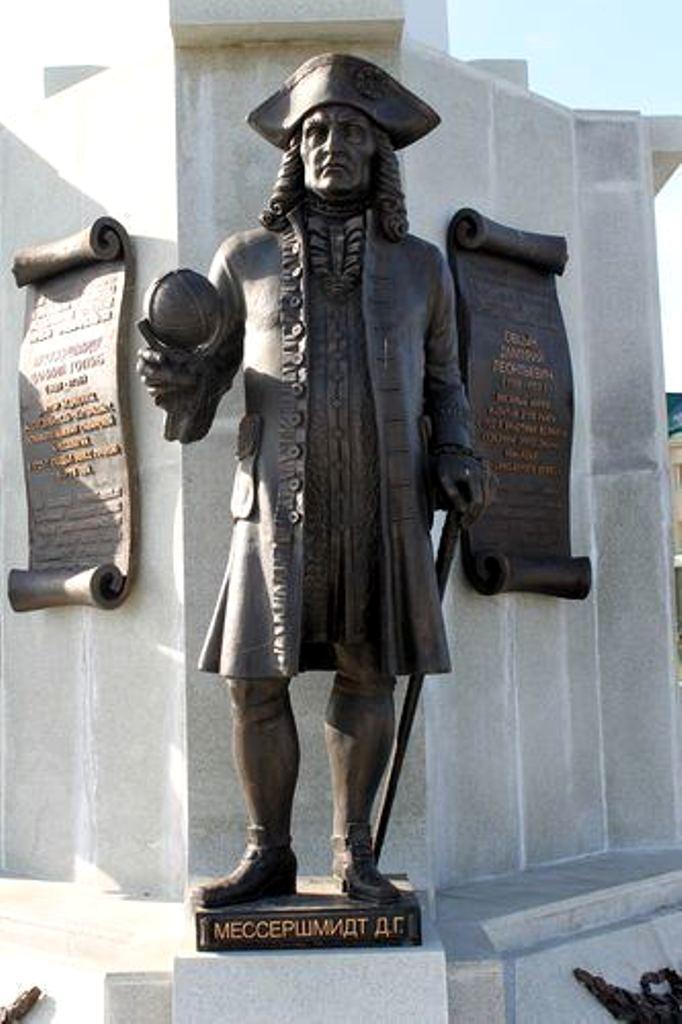 Daniel Gottlieb Messerschmidt, pomnik w Sankt Petersburgu; źródło: alchetron.com