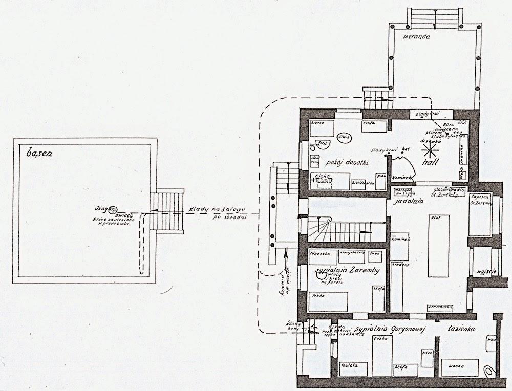 Plan willi w Brzuchowicach sporządzony przez biegłych, z zaznaczonymi śladami kroków, krwi i kału.